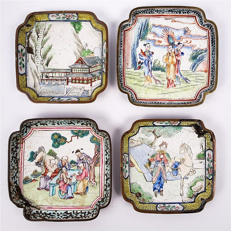 Two Chinese Canton enamel square pin trays