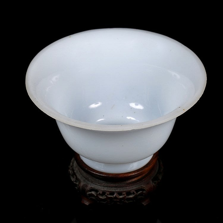 A Beijing opaline white glass bowl and cover
