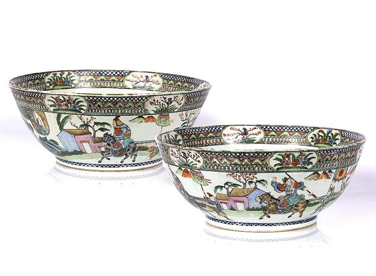 A pair of Chinese Canton punch bowls