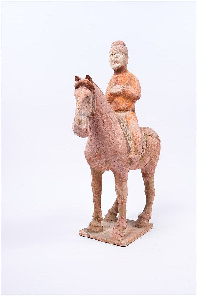 A Tang unglazed pottery horse and rider