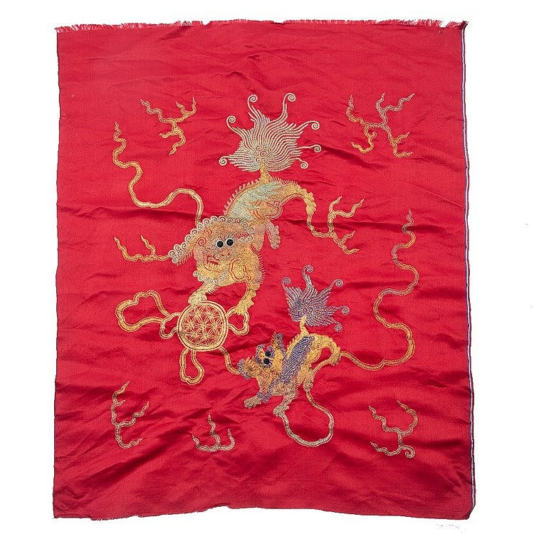 A Chinese red silk panel