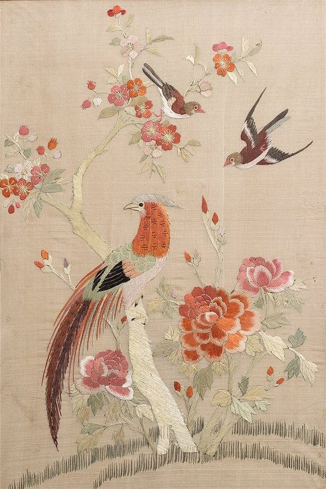 A pair of Chinese silk and embroidered studies