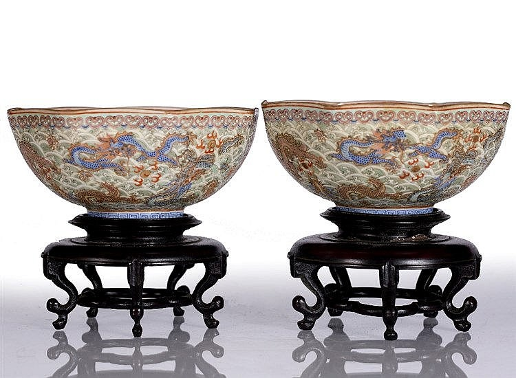 A near pair of Chinese eggshell octagonal bowls