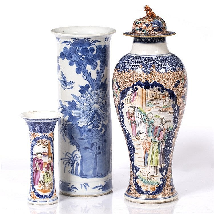 A Chinese blue and white spill vase