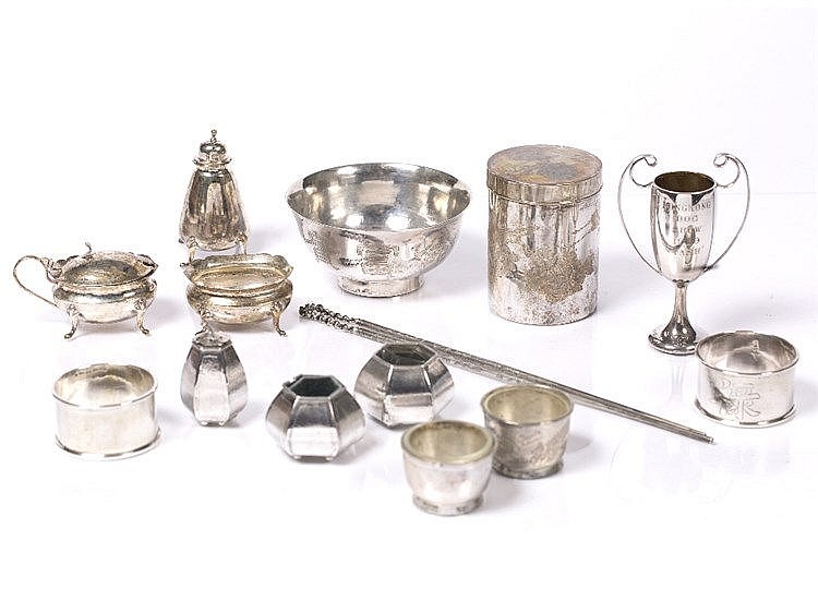 A collection of Chinese white metal pieces