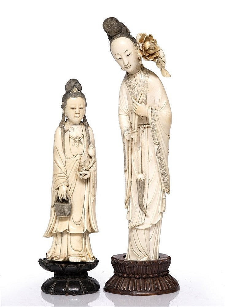 Chinese carved ivory model of Guanyin
