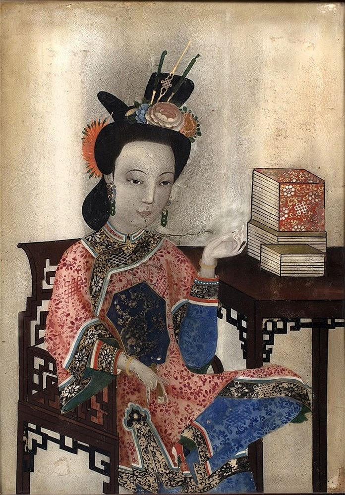 A Chinese reverse glass painting