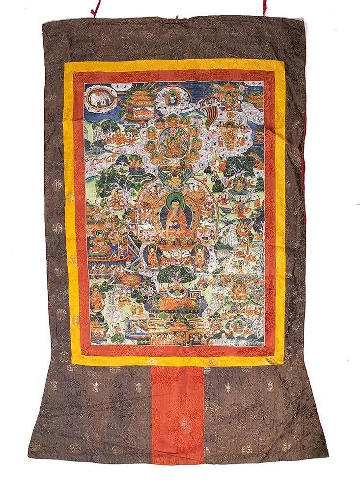 A Tibetan Thangka and a Tibetan Mandala Thangka