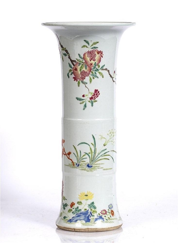 A Chinese porcelain yen yen beaker vase