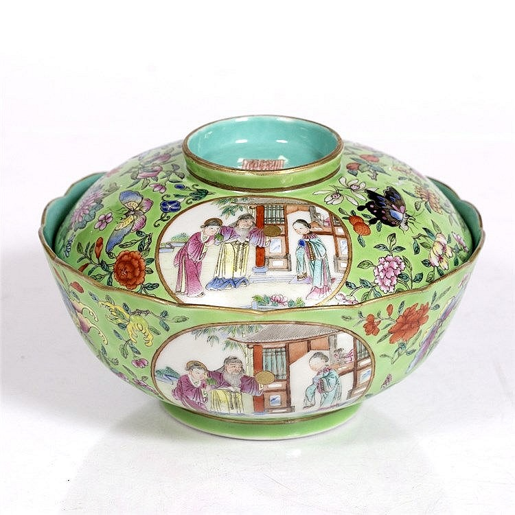A Chinese porcelain famille rose bowl and cover