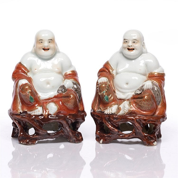A pair of Chinese seated model Pu-Tai