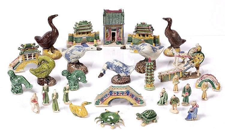 A collection of Chinese miniature pottery pieces