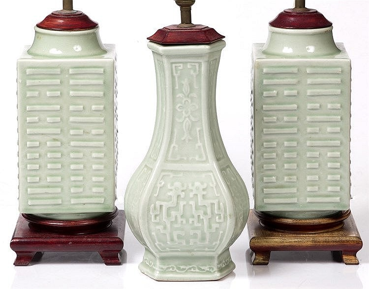 A pair of Chinese celadon cong shaped vases