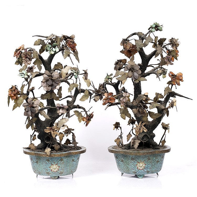 A pair of Chinese miniature trees