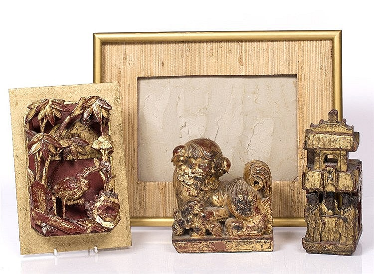 Three Chinese carved wood pieces