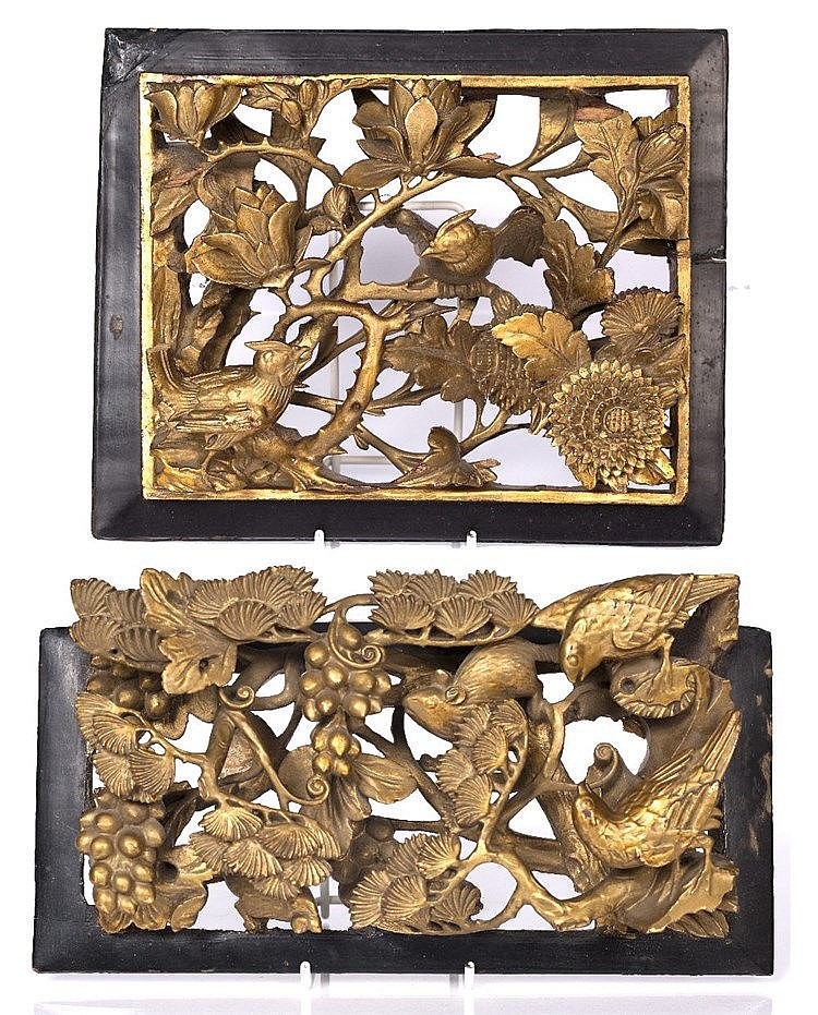 A Chinese carved gilt wood panel