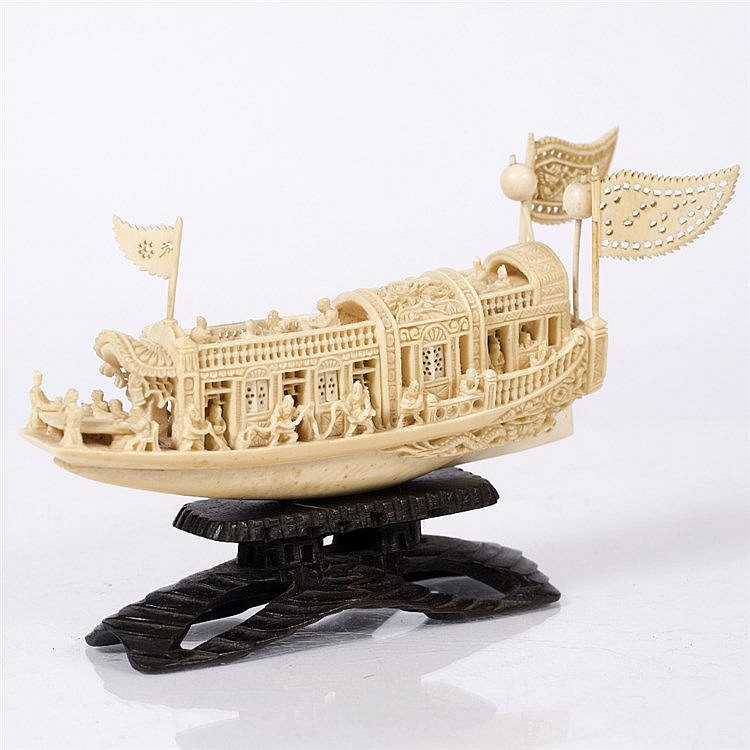 A Chinese ivory carved model junk