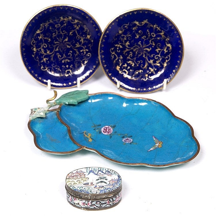 A pair of Chinese blue enamel saucer dishes