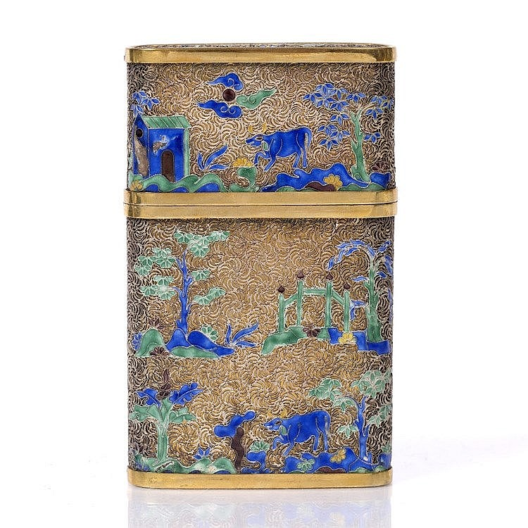 A Chinese gilt metal filigree card case