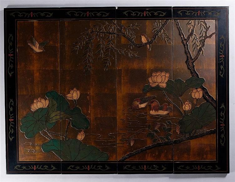 A Chinese coromandel four panel screen