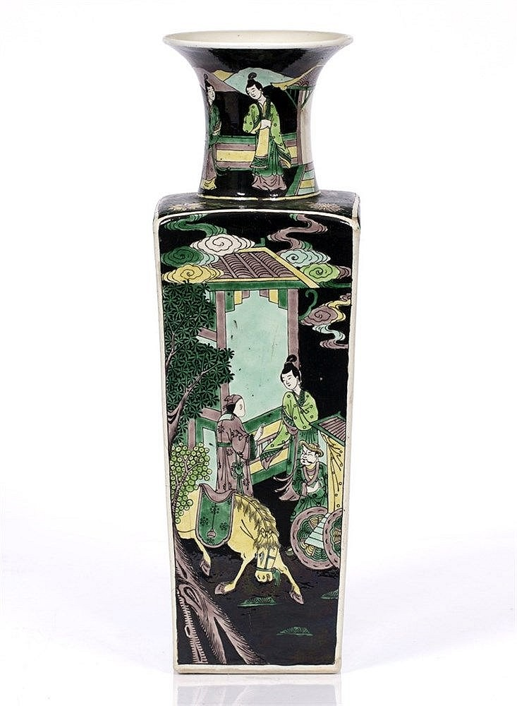 A Chinese famille noir square vase