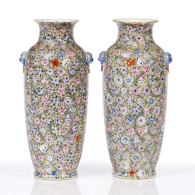 A pair of Chinese mille-fleur sleeve vases