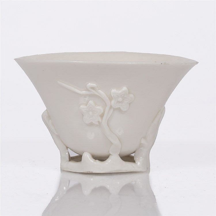 A Chinese blanc de chine libation cup