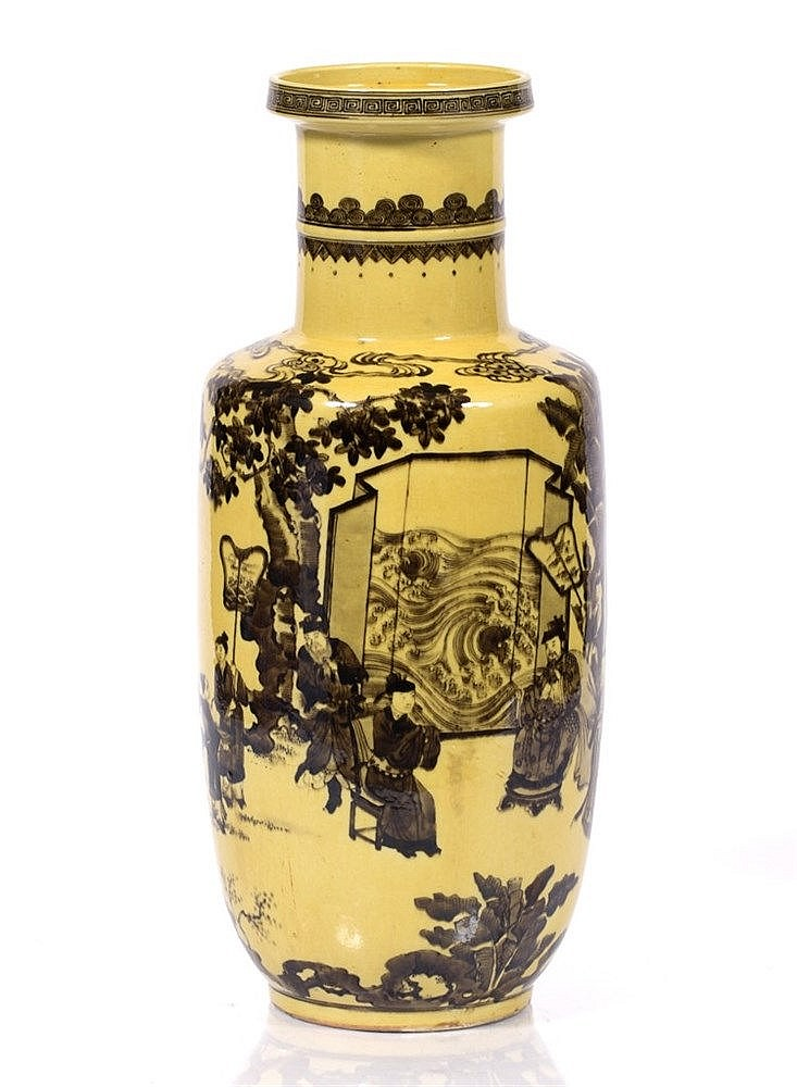 A Chinese yellow ground rouleau vase
