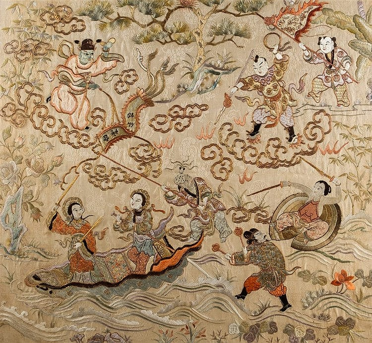 A pair of Chinese textile panels