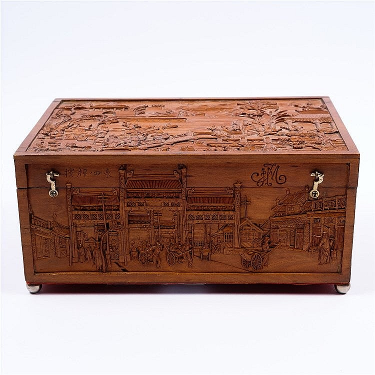 A Chinese hard wood casket