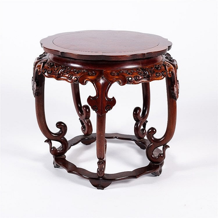 A Chinese hardwood small urn stand
