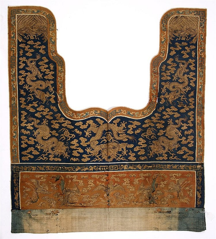 A Chinese silk portiere