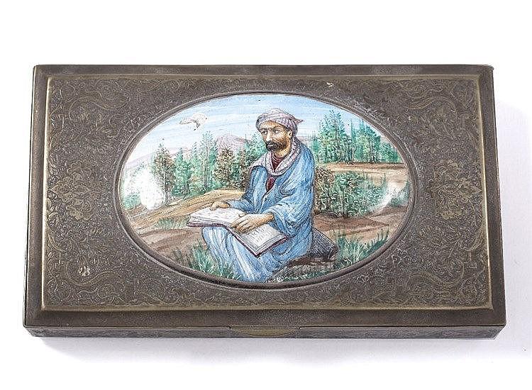 A Persian silver metal and enamel box