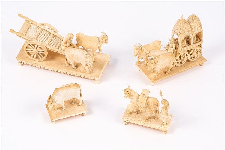 An Indian carving of ivory model of carriage pulled by ox