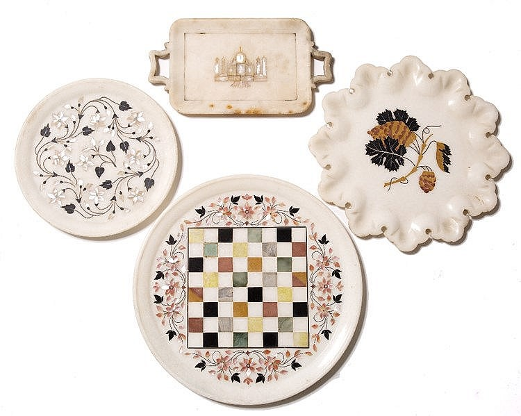 Four Indian Pietra Dura marble trays