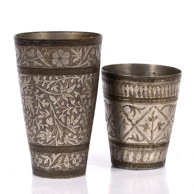 Two Indian silver metal Lassi Cups
