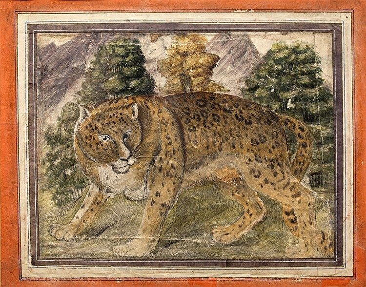 A Qajar painting of a tiger