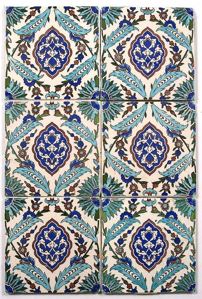 A set of six Iznik style tiles