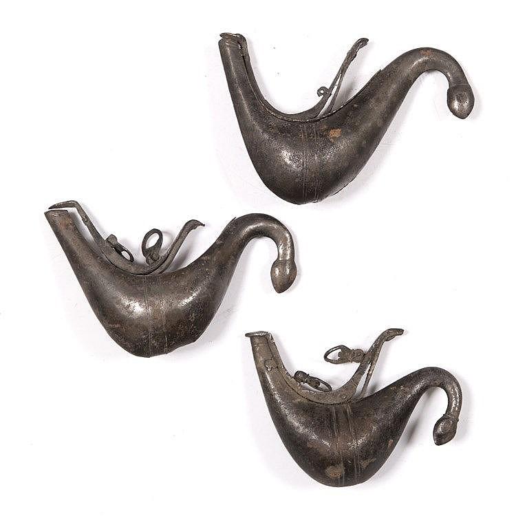 Three Qajar metal powder flasks