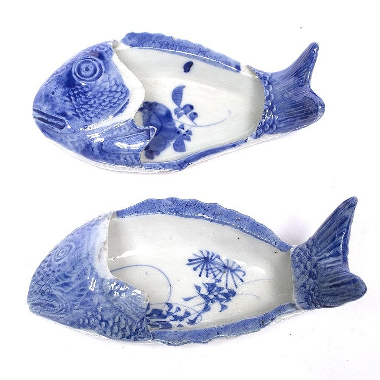 A pair of Japanese blue and white fish-shaped bowls