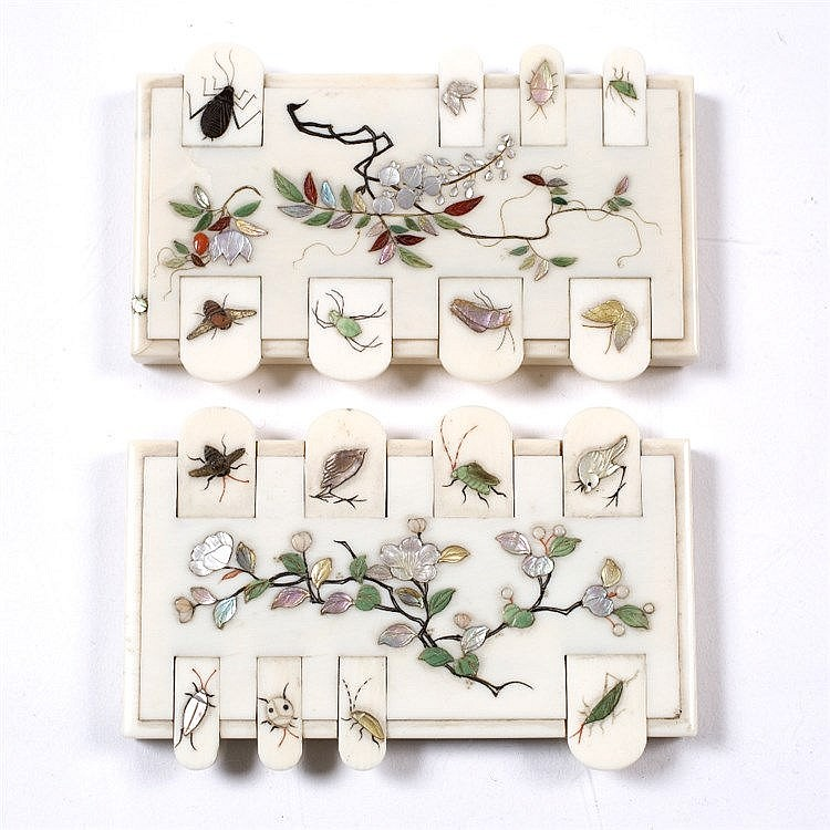 A pair of Japanese ivory Shibayama whist markers