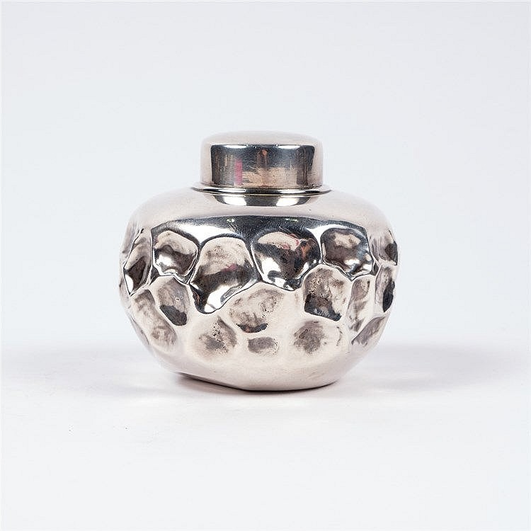 A Japanese silver metal tea caddy and cover