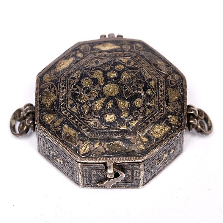 A Safavid inlaid silver metal octagonal small case