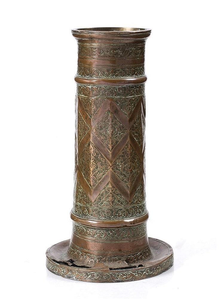 A Safavid copper columnar candlestick