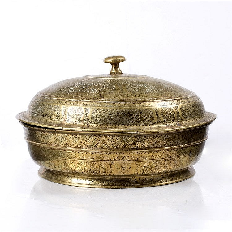 A Javanese large brass betel nut bowl and cover