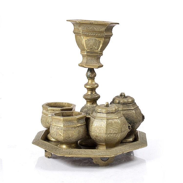 A Javanese brass betel nut set