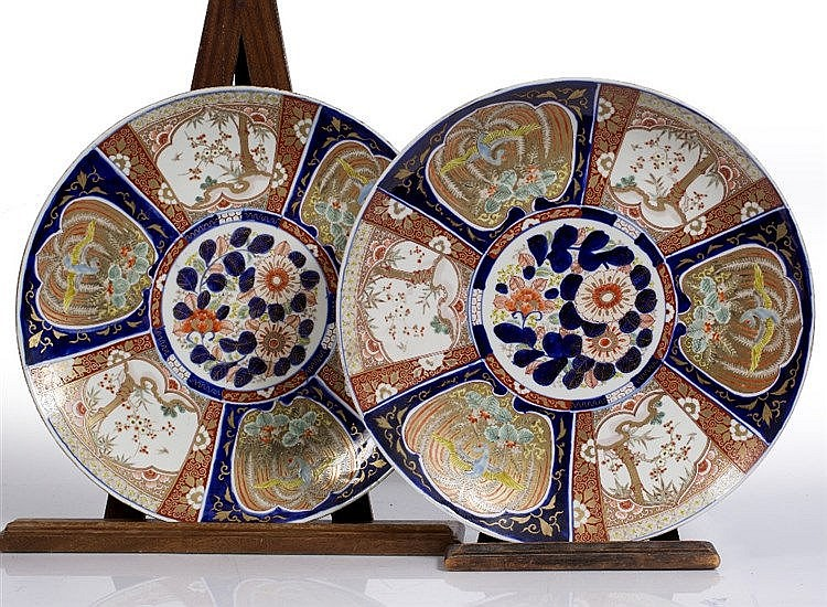 A pair of Japanese Imari chargers