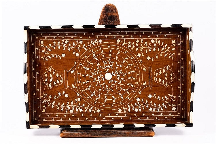 An Anglo-Indian wooden inlaid tray
