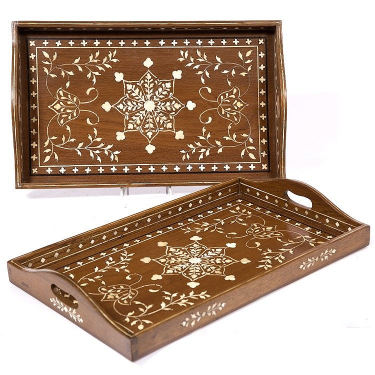 A pair of Anglo-Indian wooden inlaid trays