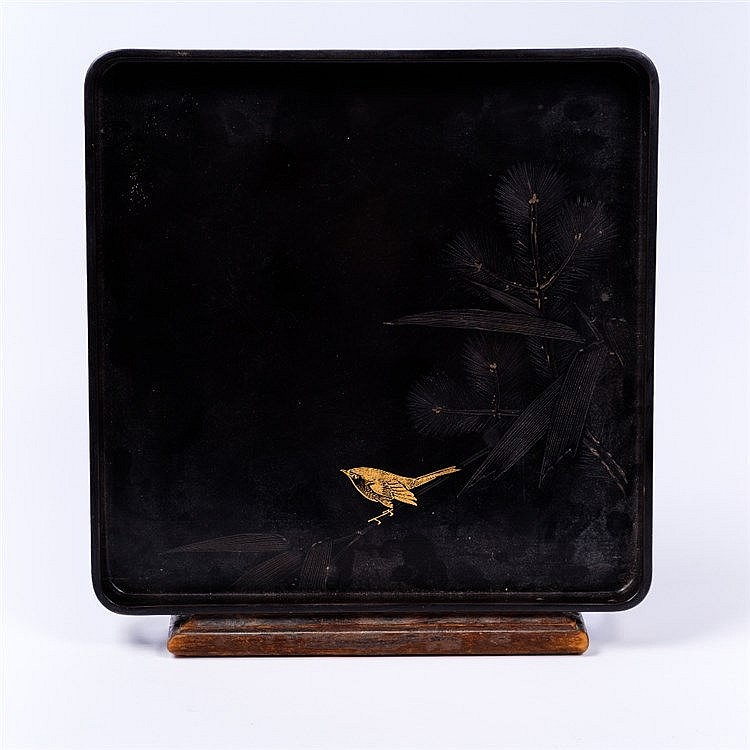 A Japanese black lacquer square tray